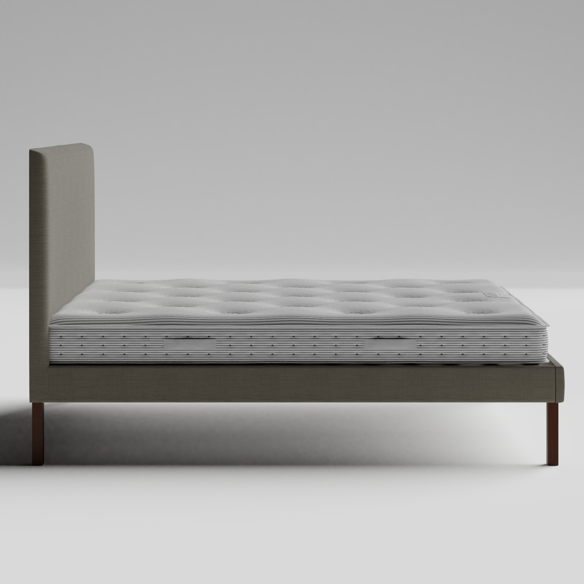 Misaki Upholstered upholstered bed in grey fabric with Juno mattress