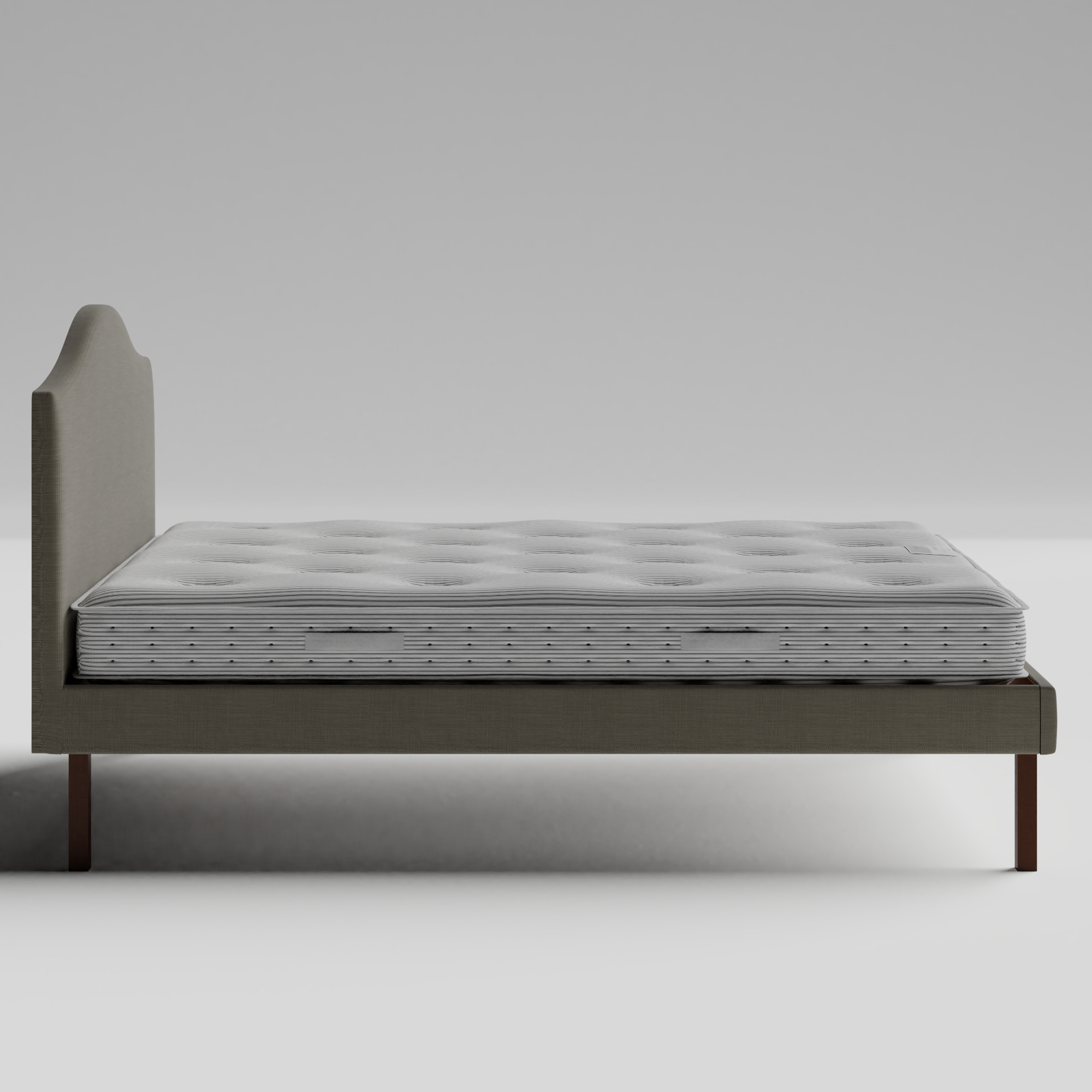 Yoshida Upholstered upholstered bed in grey fabric with Juno mattress
