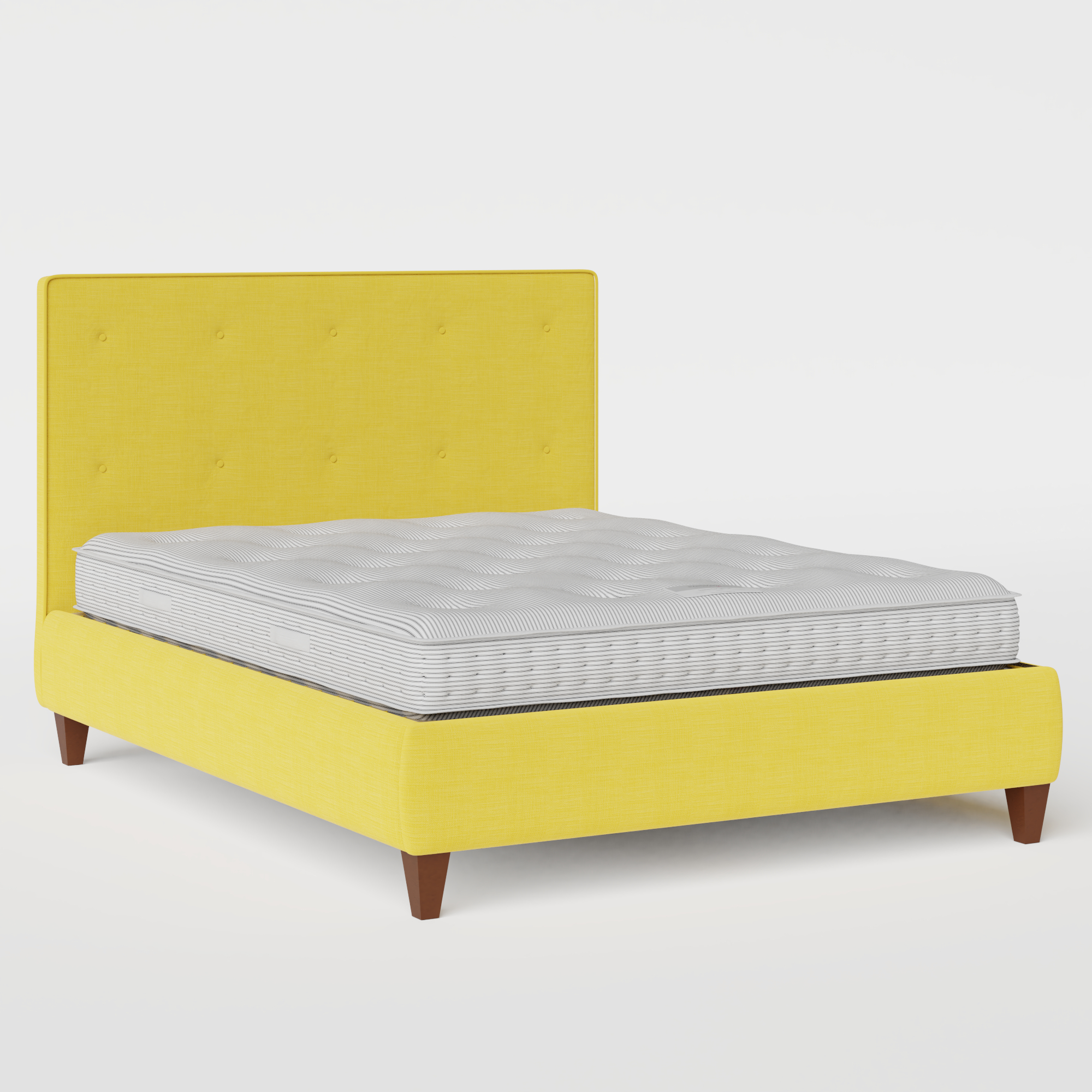 Yushan Buttoned upholstered bed in sunflower fabric