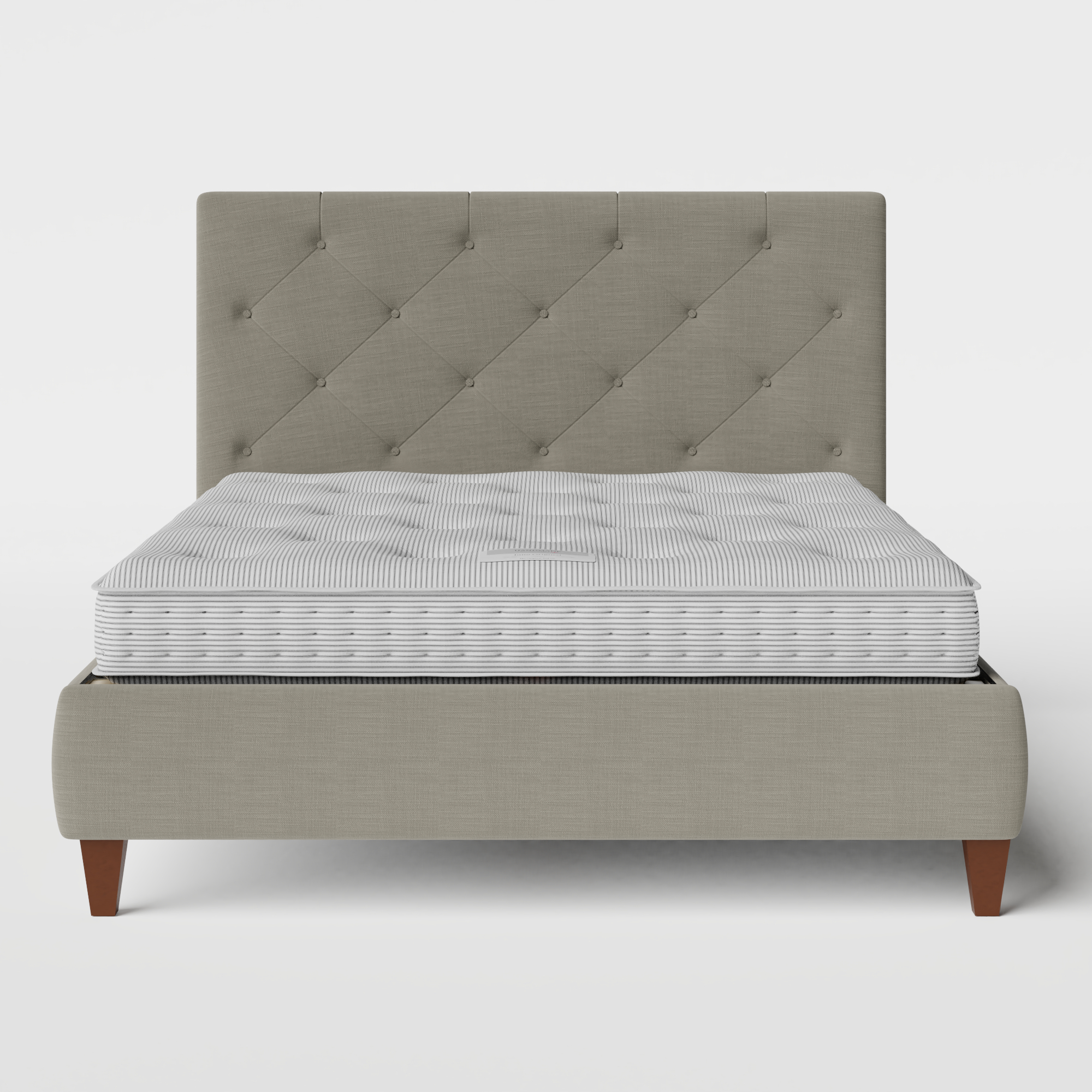 Yushan Deep Buttoned upholstered bed in grey fabric with Juno mattress