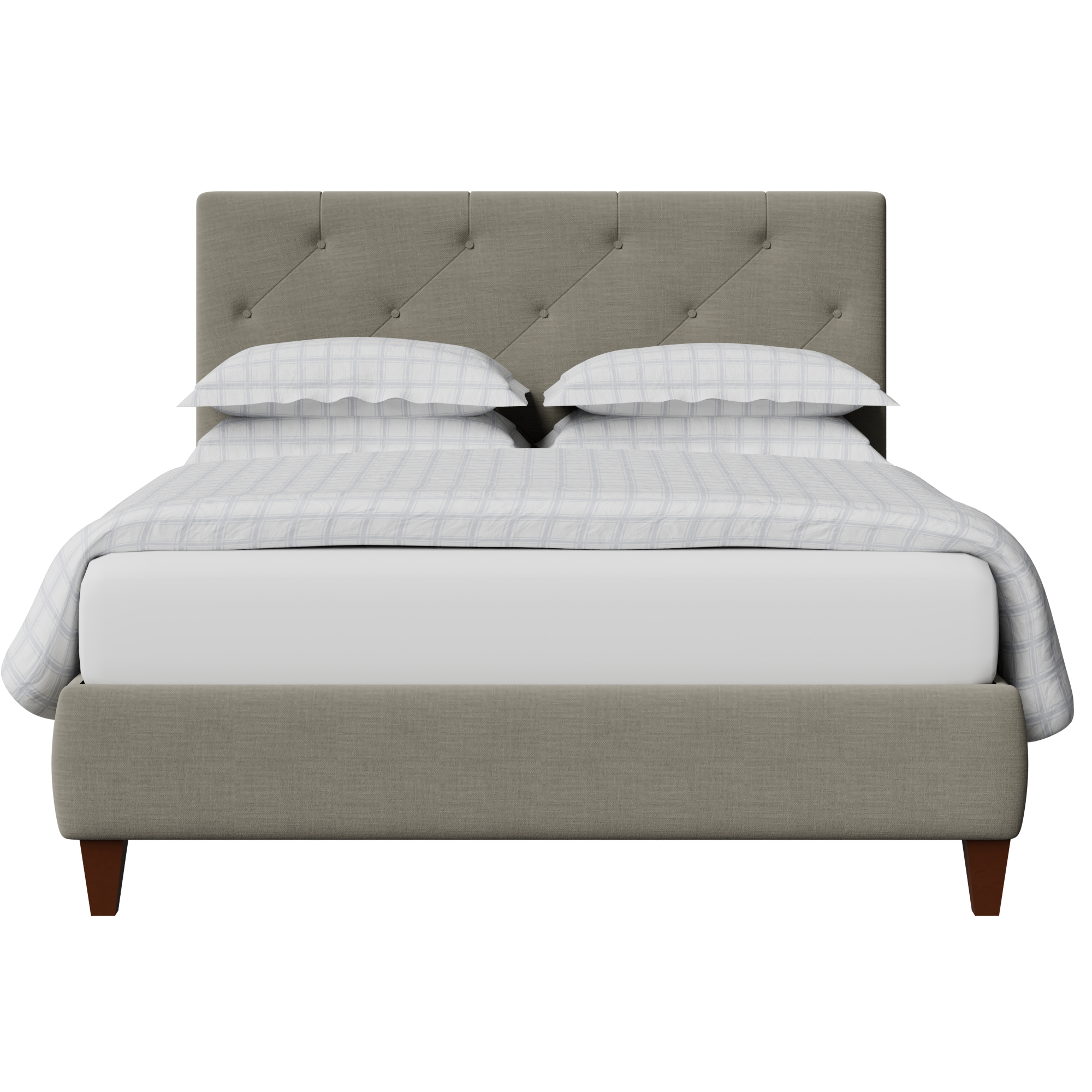 Yushan Deep Buttoned upholstered bed in grey fabric