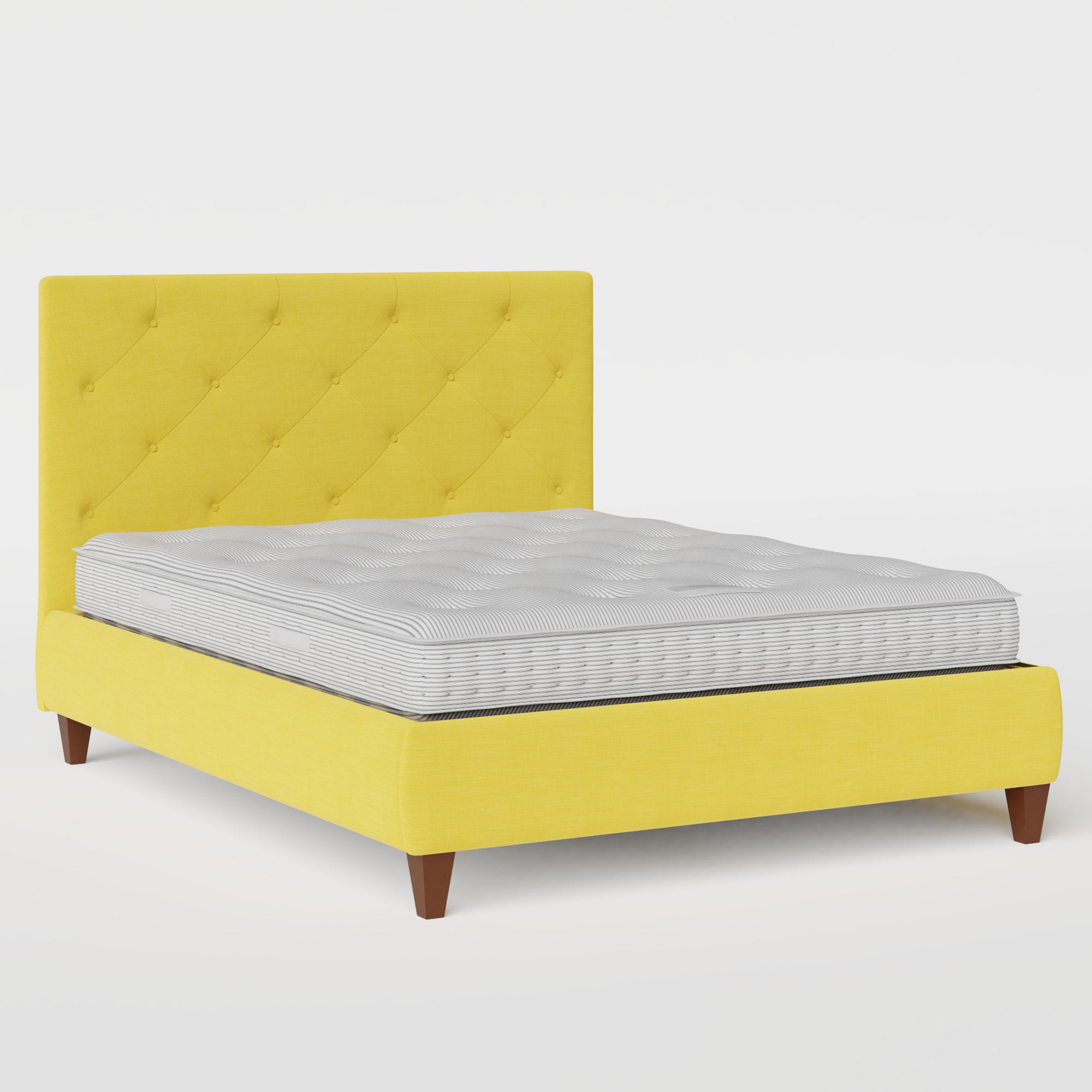 Yushan Deep Buttoned upholstered bed in sunflower fabric