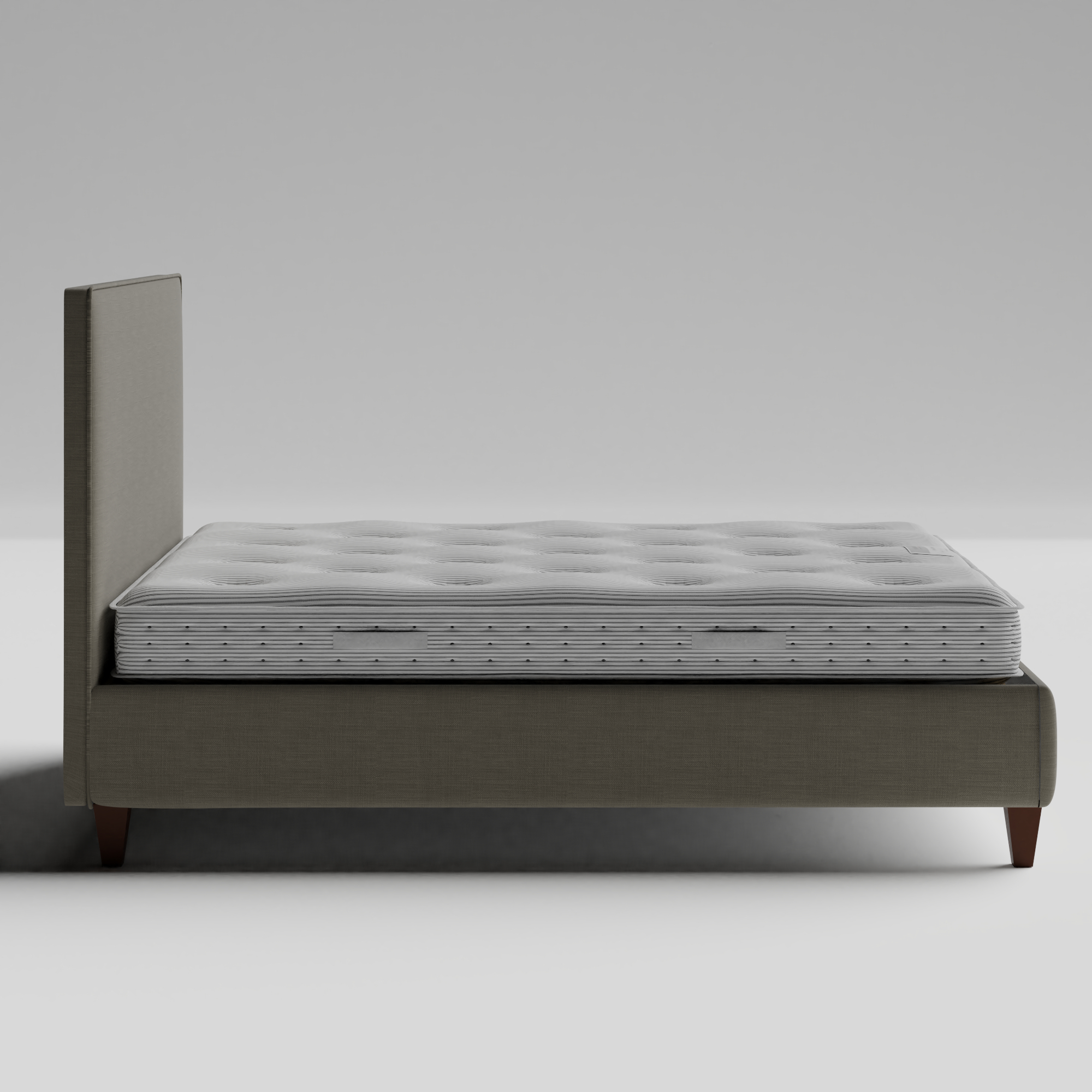 Yushan with Piping upholstered bed in grey fabric with Juno mattress