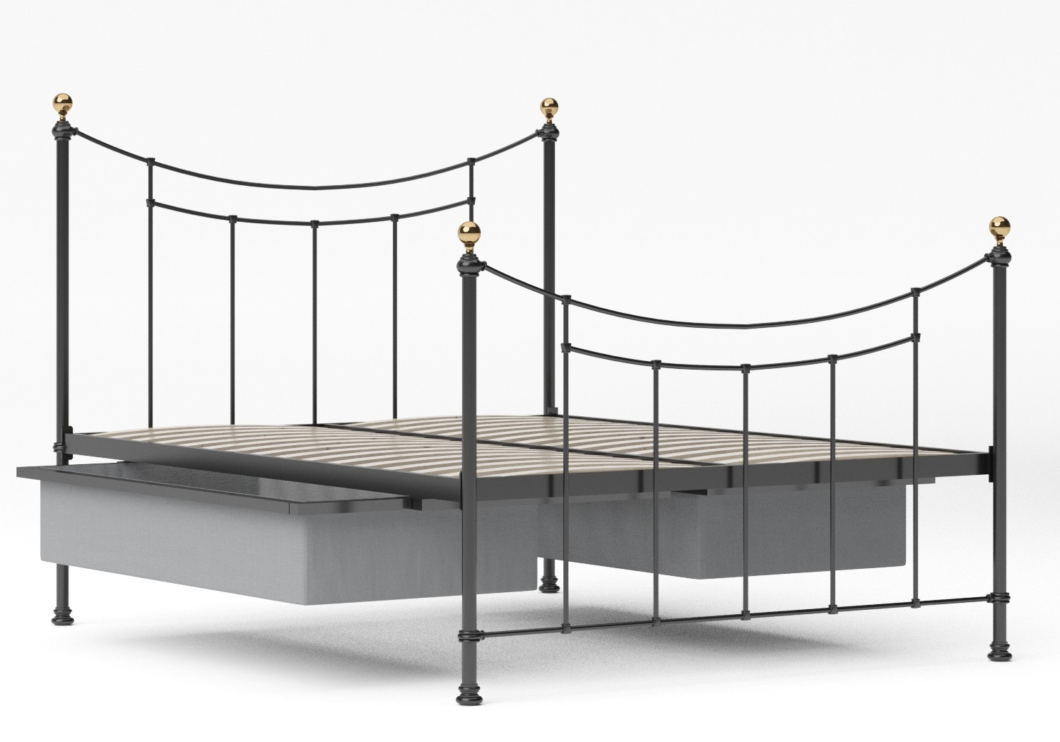 Virginia Single Iron/Metal in Satin Black with Brass details shown with underbed storage