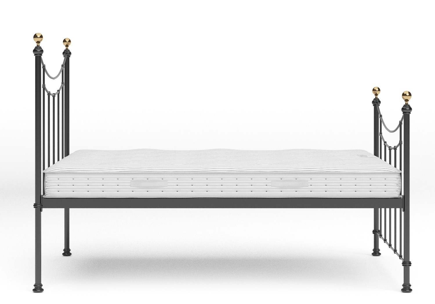 Virginia Single Iron/Metal in Satin Black with Brass details shown with Juno 1 mattress