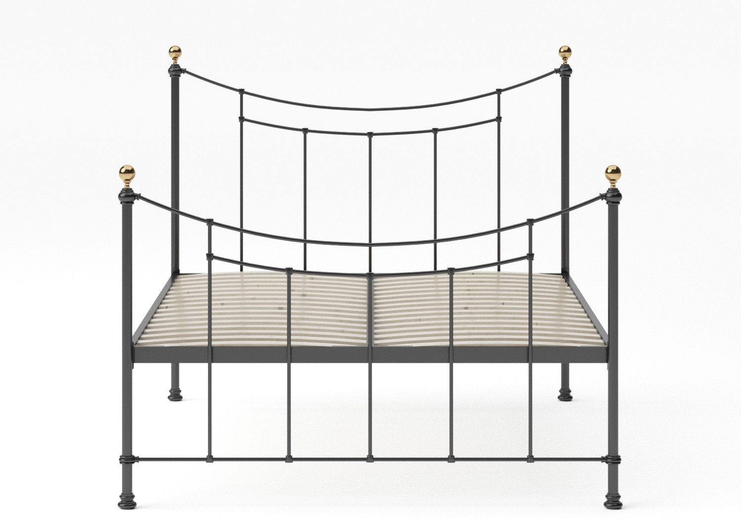 Virginia Single Iron/Metal in Satin Black with Brass details shown with slatted frame