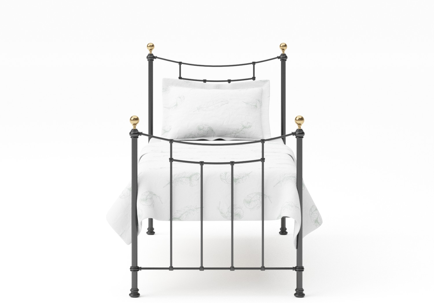 Virginia Single Iron/Metal Bed in Satin Black with Brass details