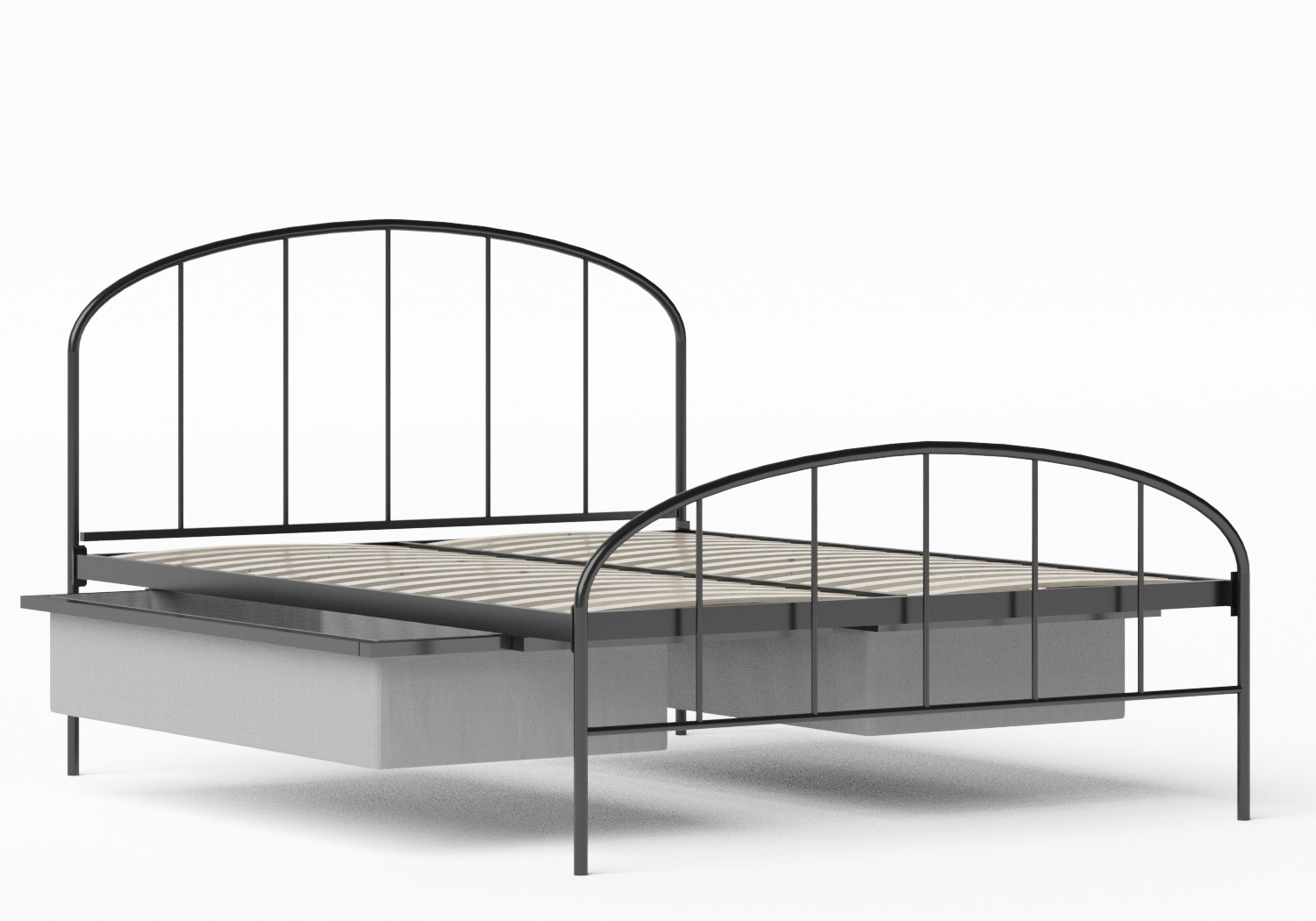 Waldo Iron/Metal Bed in Satin Black shown with underbed storage