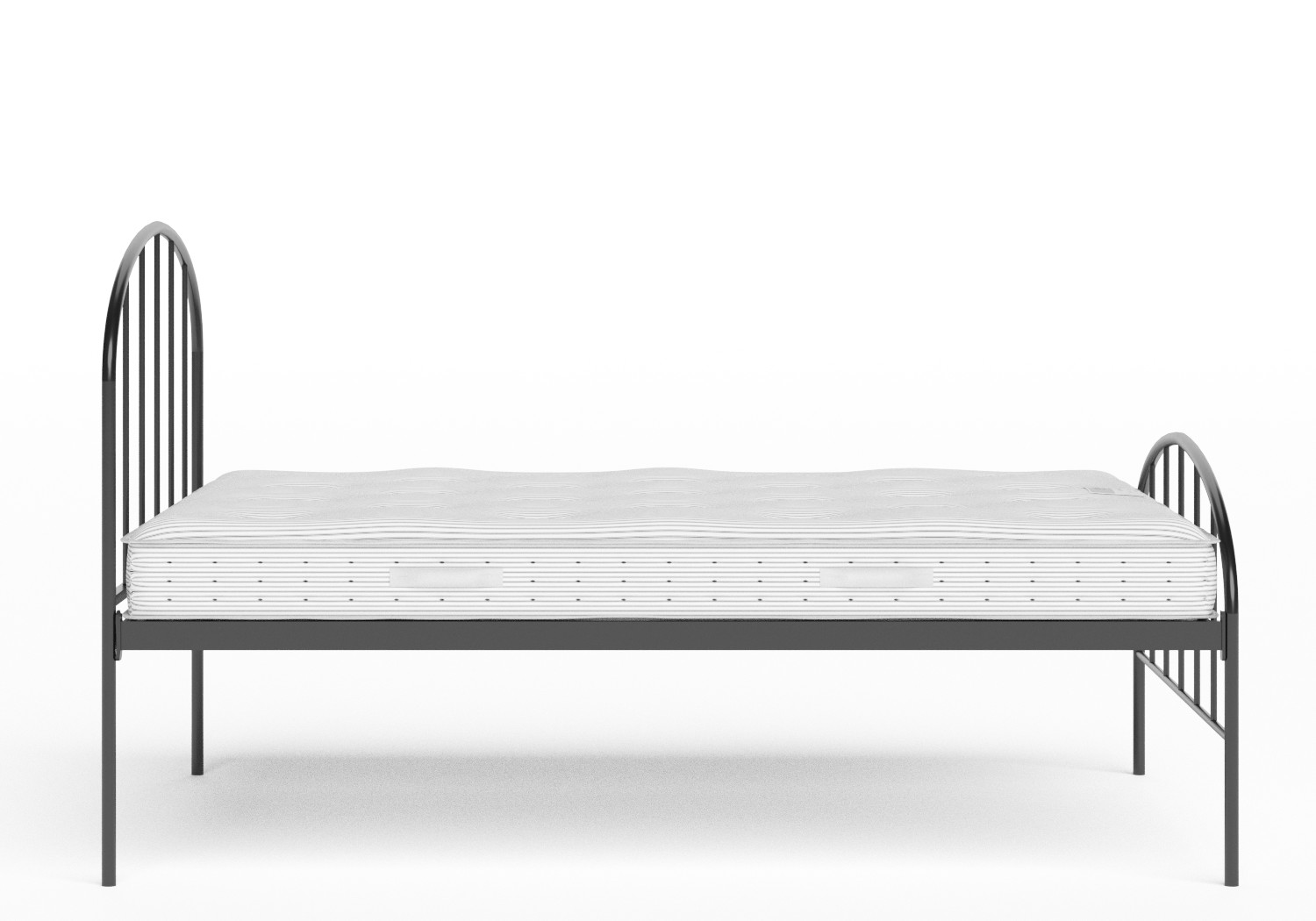 Waldo Iron/Metal Bed in Satin Black shown with Juno 1 mattress