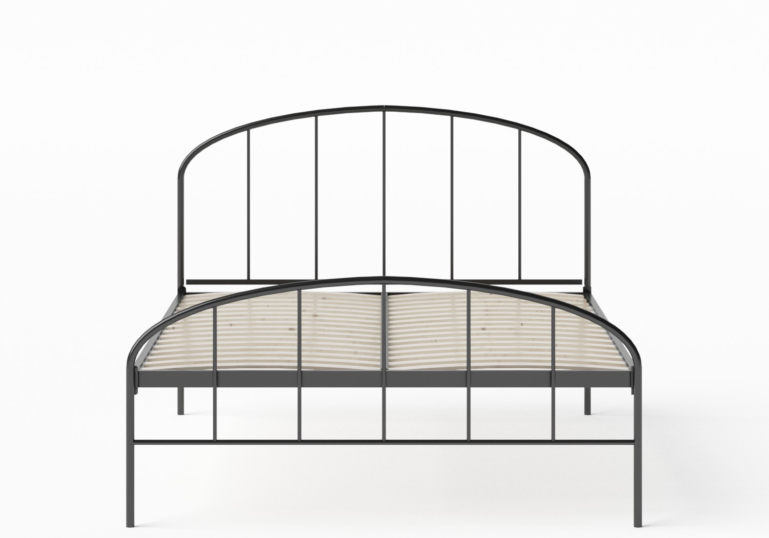 Waldo Iron/Metal Bed in Satin Black shown with slatted frame