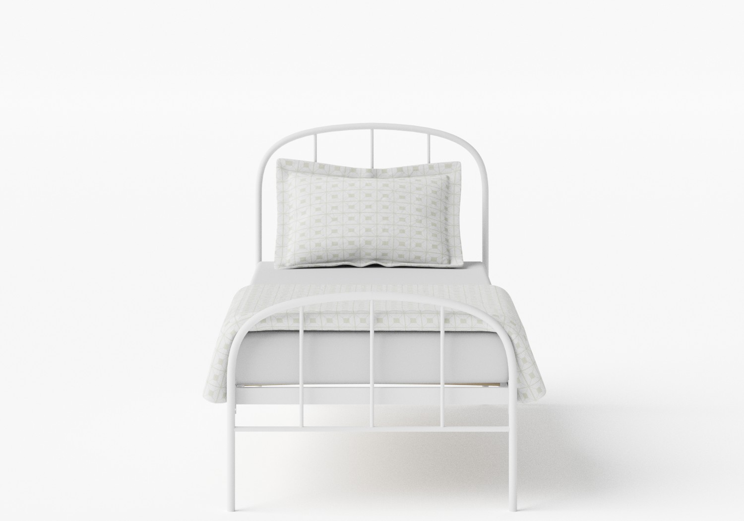 Waldo Single Iron/Metal Bed in Satin White