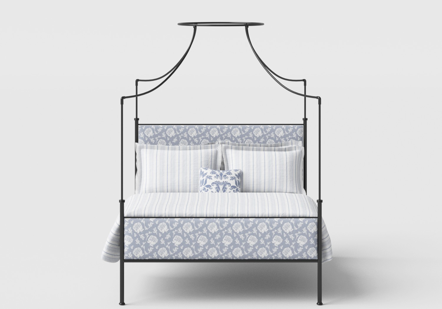 Waterloo Wrought Iron/Metal Four Poster Bed in Satin Black with Fabric Upholstered Panel
