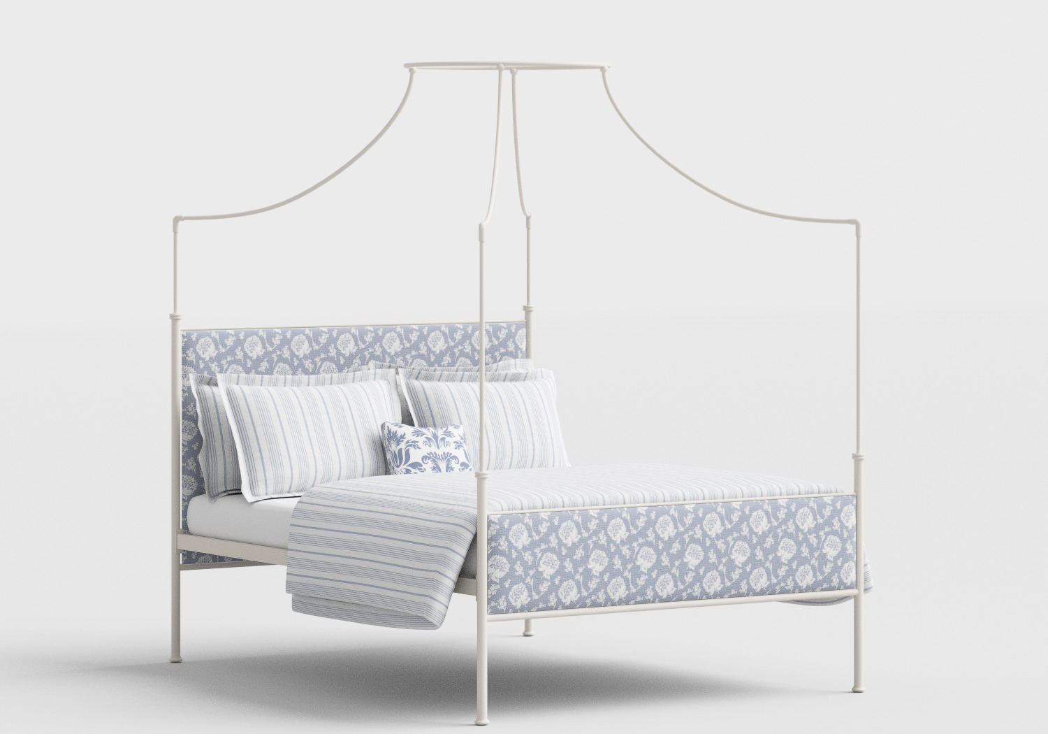 Waterloo Wrought Iron/Metal Four Poster Bed in Glossy Ivory with Fabric Upholstered Panel
