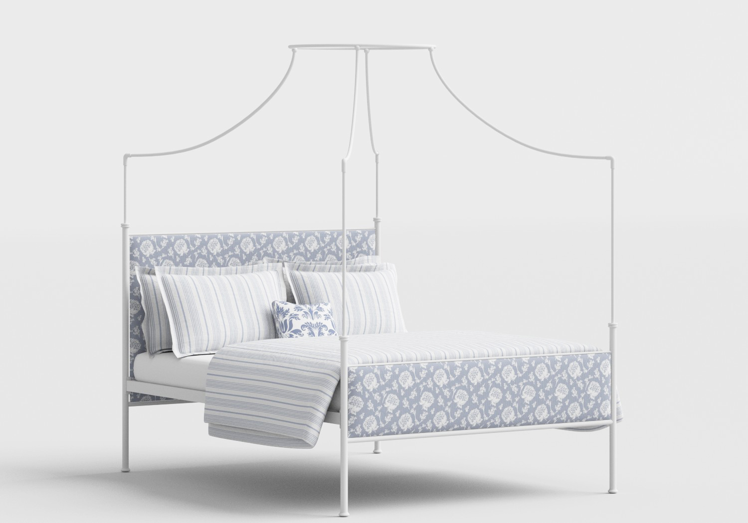 Waterloo Wrought Iron/Metal Four Poster Bed in Satin White with Fabric Upholstered Panel