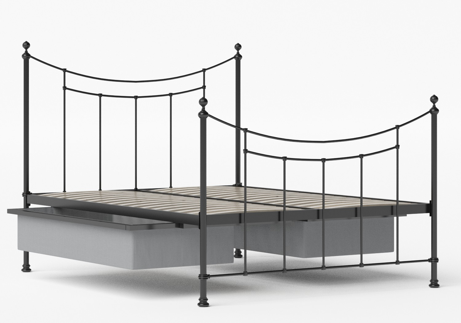 Winchester Iron/Metal Bed in Satin Black shown with underbed storage