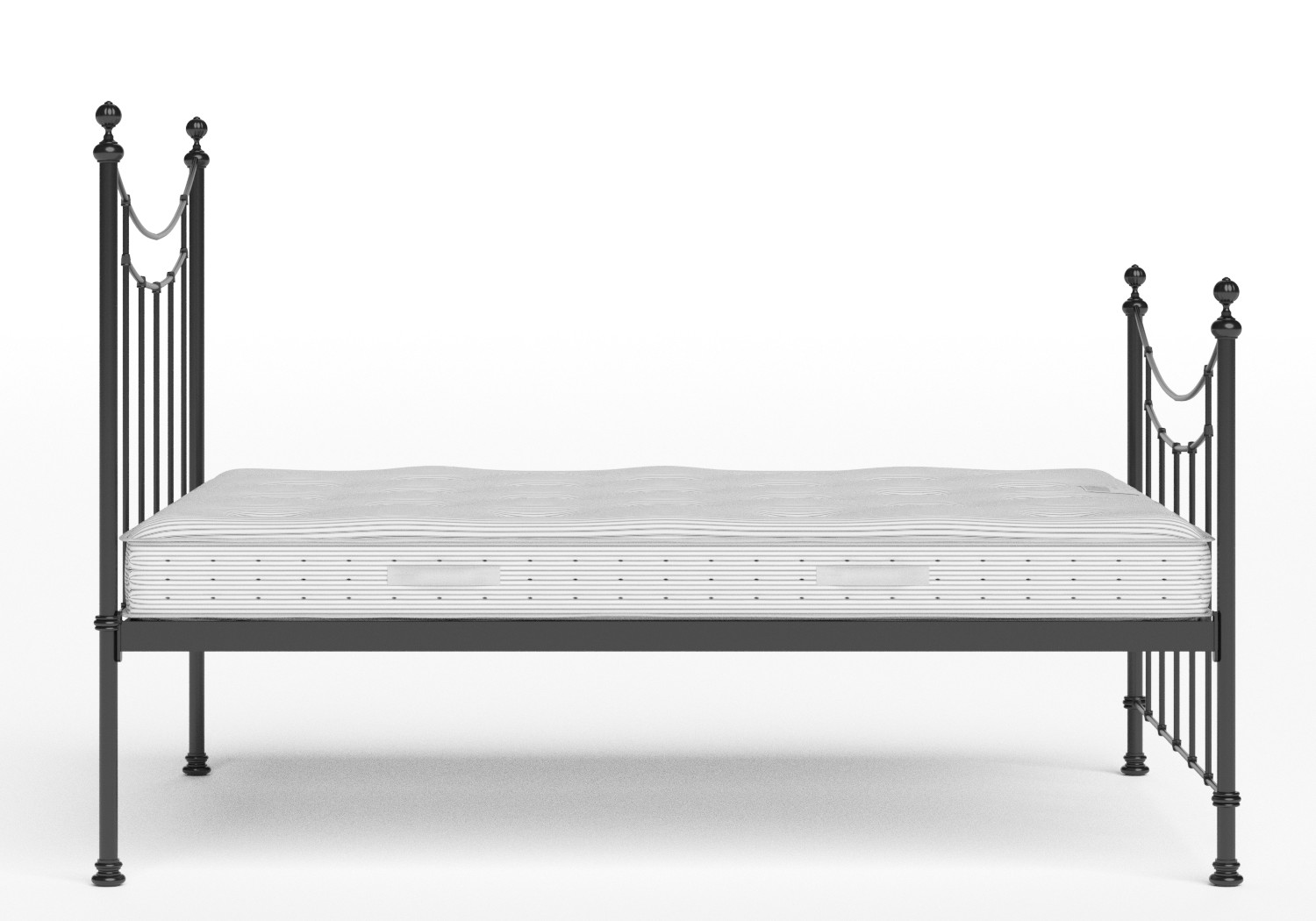 Winchester Iron/Metal Bed in Satin Black shown with Juno 1 mattress