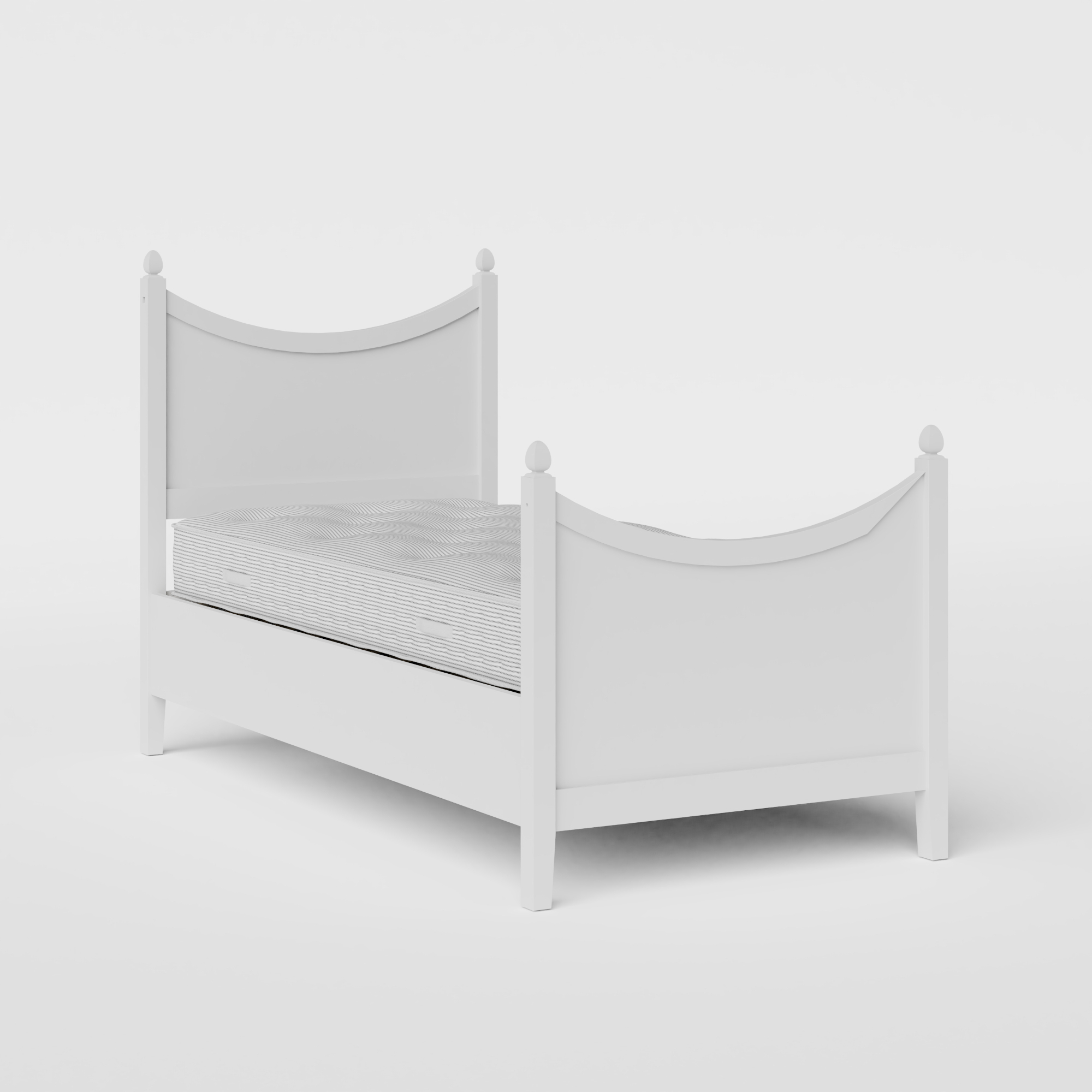 Blake Painted single painted wood bed in white with Juno mattress