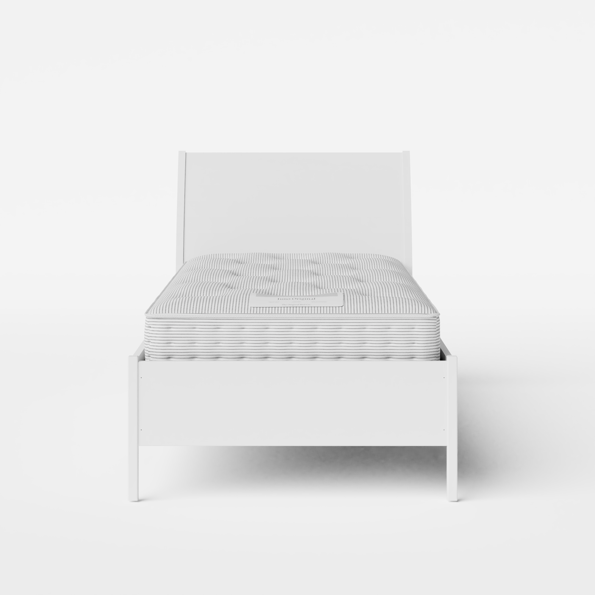 Hunt Painted single painted wood bed in white with Juno mattress
