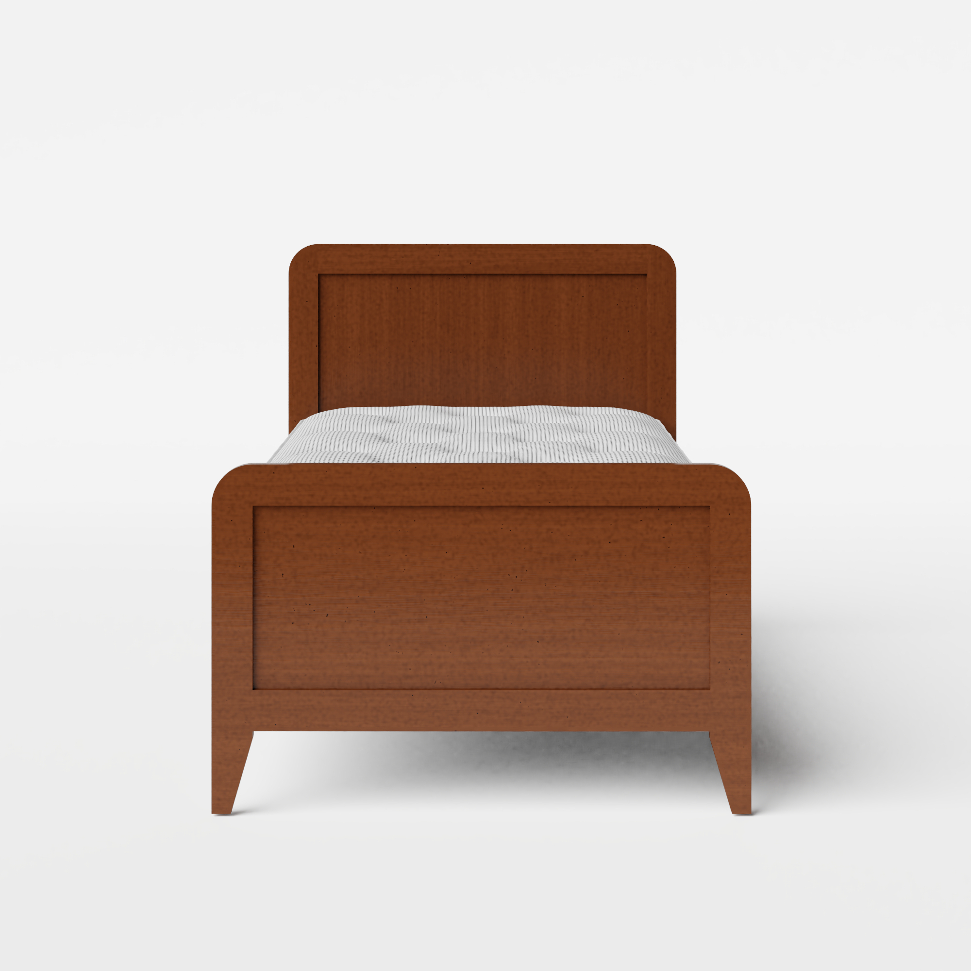 Keats single wood bed in dark cherry with Juno mattress