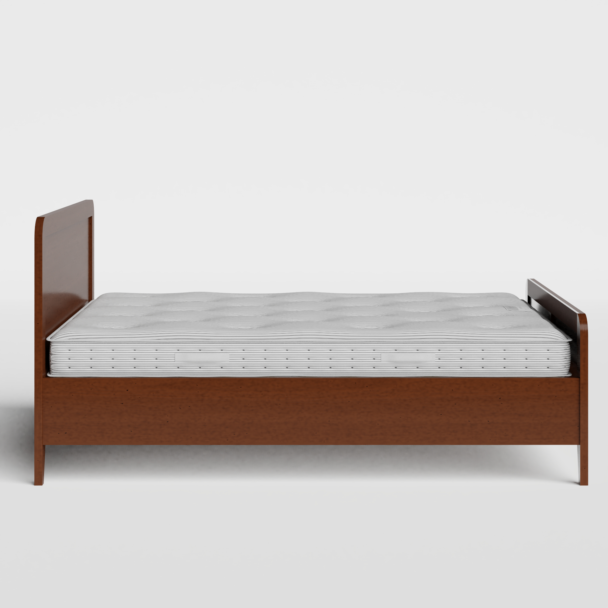 Keats wood bed in dark cherry with Juno mattress