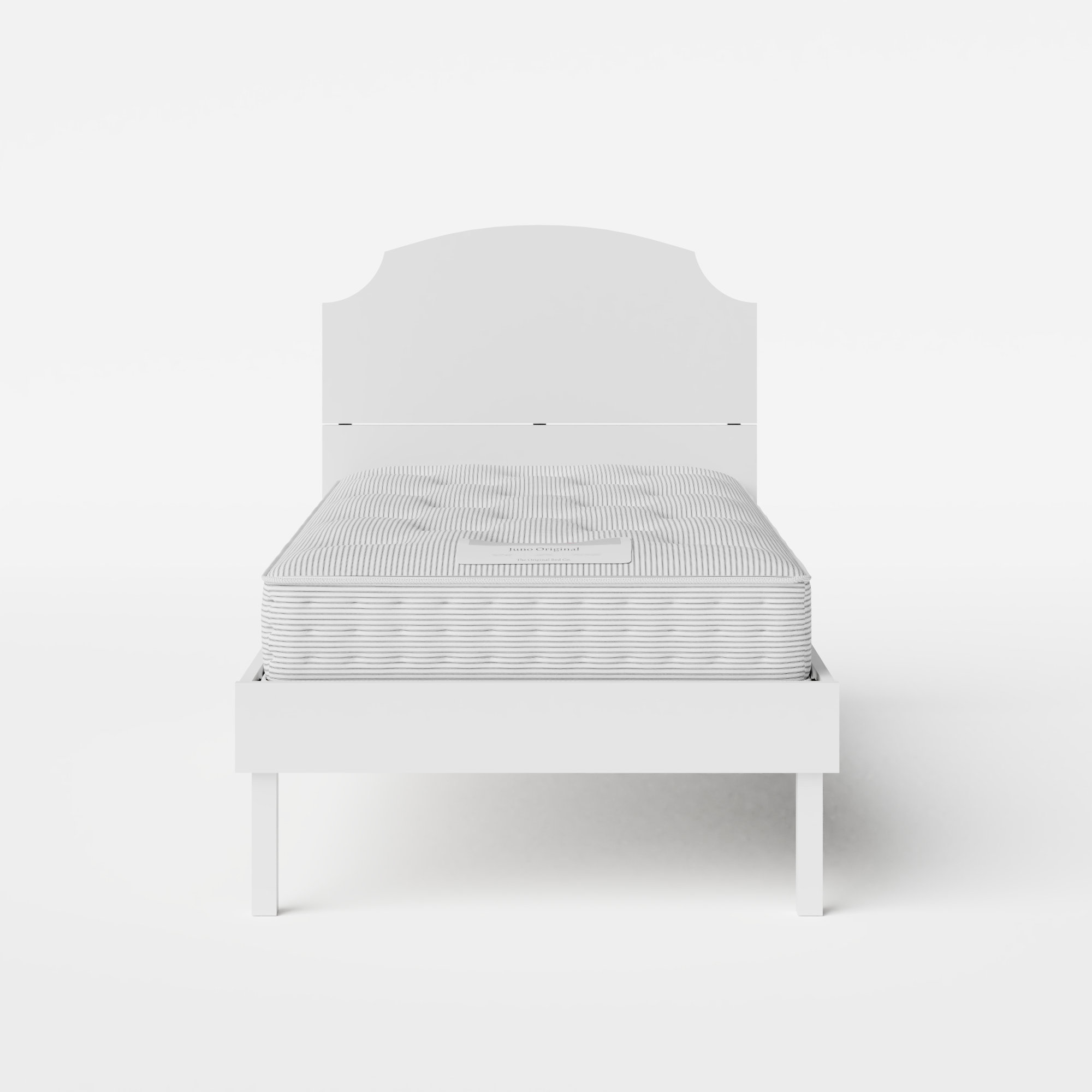 Kobe Painted single painted wood bed in white with Juno mattress