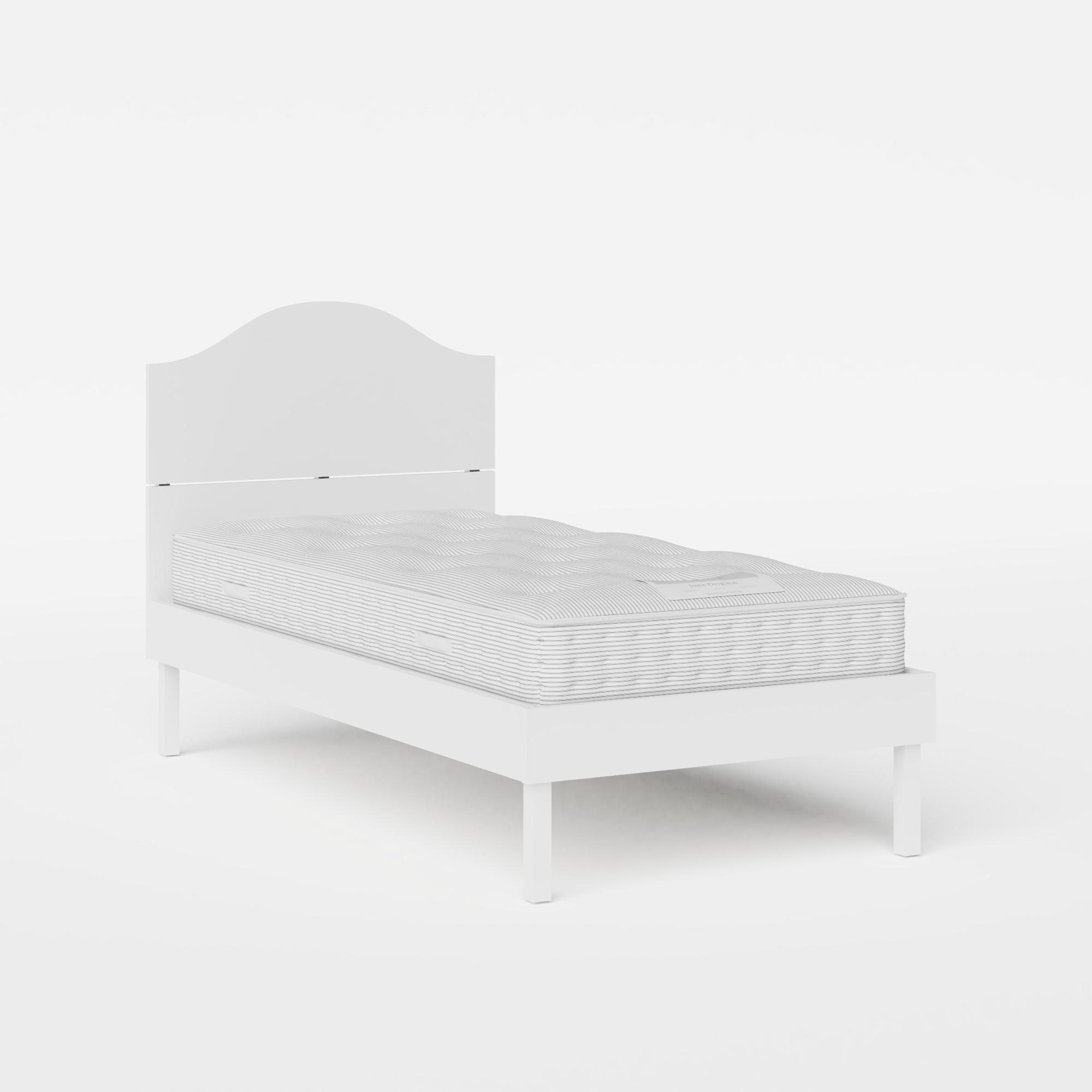 Yoshida Painted single painted wood bed in white with Juno mattress