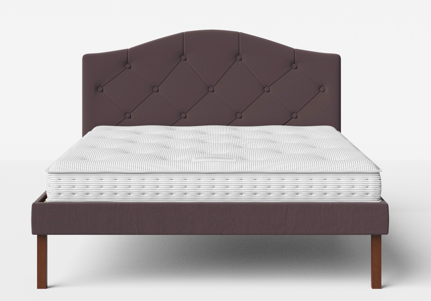 Yoshida Upholstered Bed with Aubergine fabric with buttoning shown with Juno 1 mattress