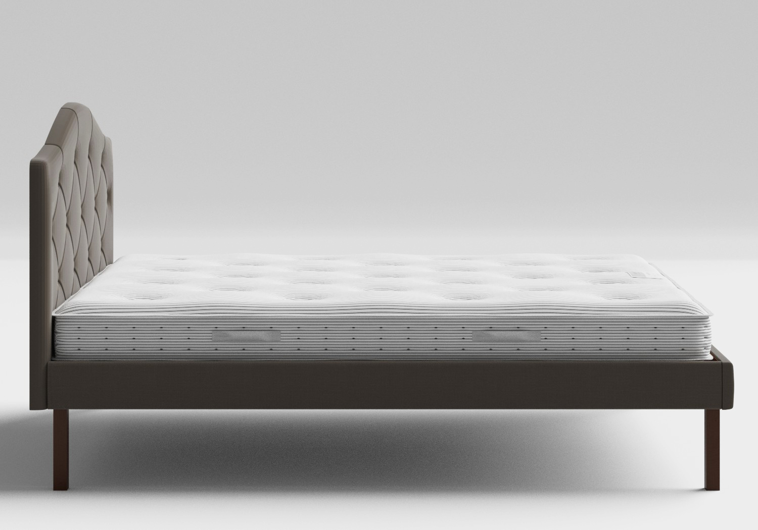 Yoshida Upholstered Bed with Grey fabric with buttoning shown with Juno 1 mattress