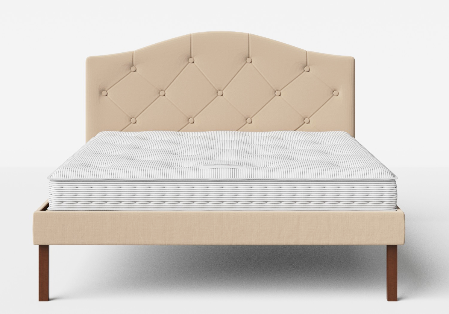 Yoshida Upholstered Bed with Natural fabric with buttoning shown with Juno 1 mattress