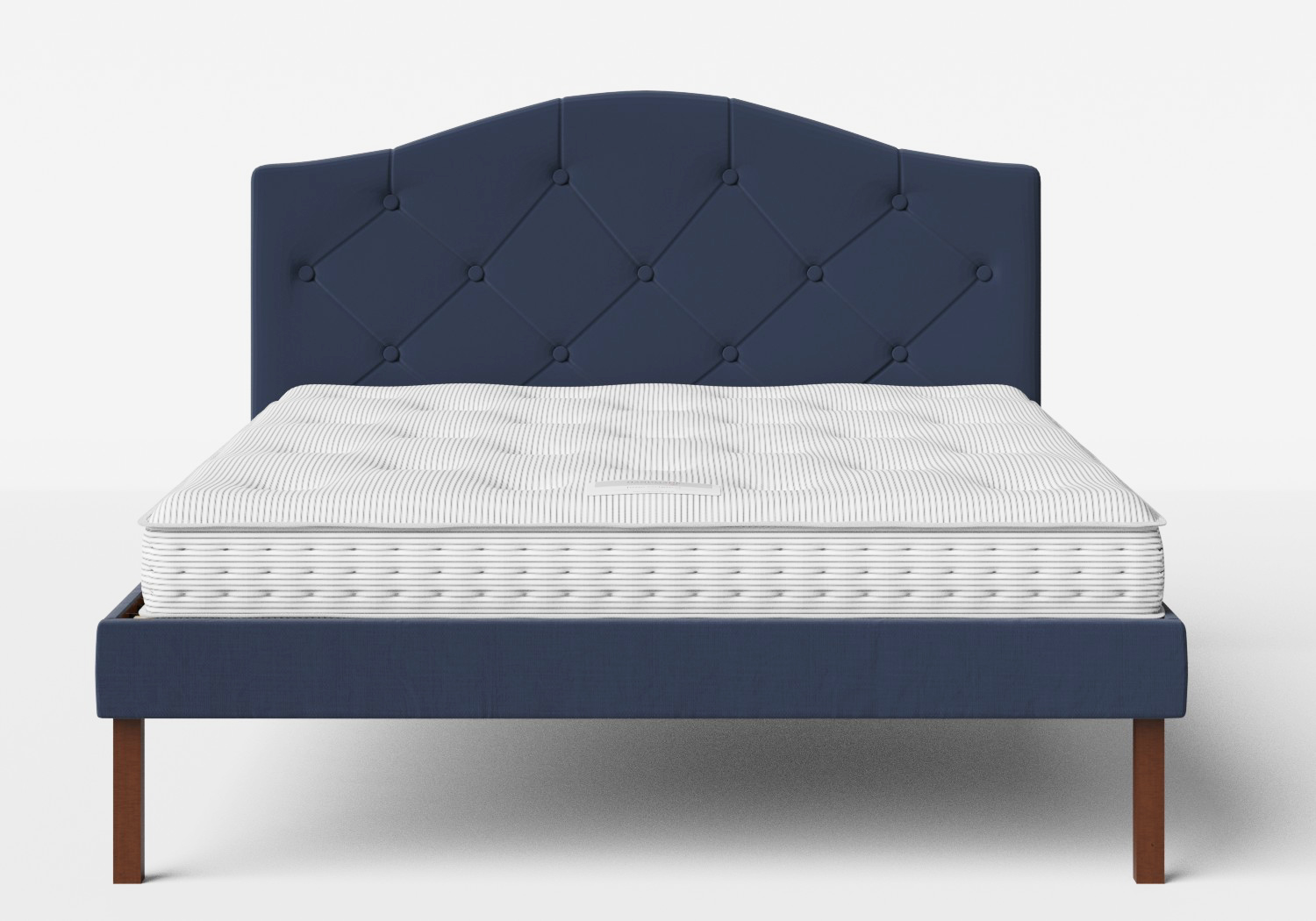 Yoshida Upholstered Bed with Navy fabric with buttoning shown with Juno 1 mattress