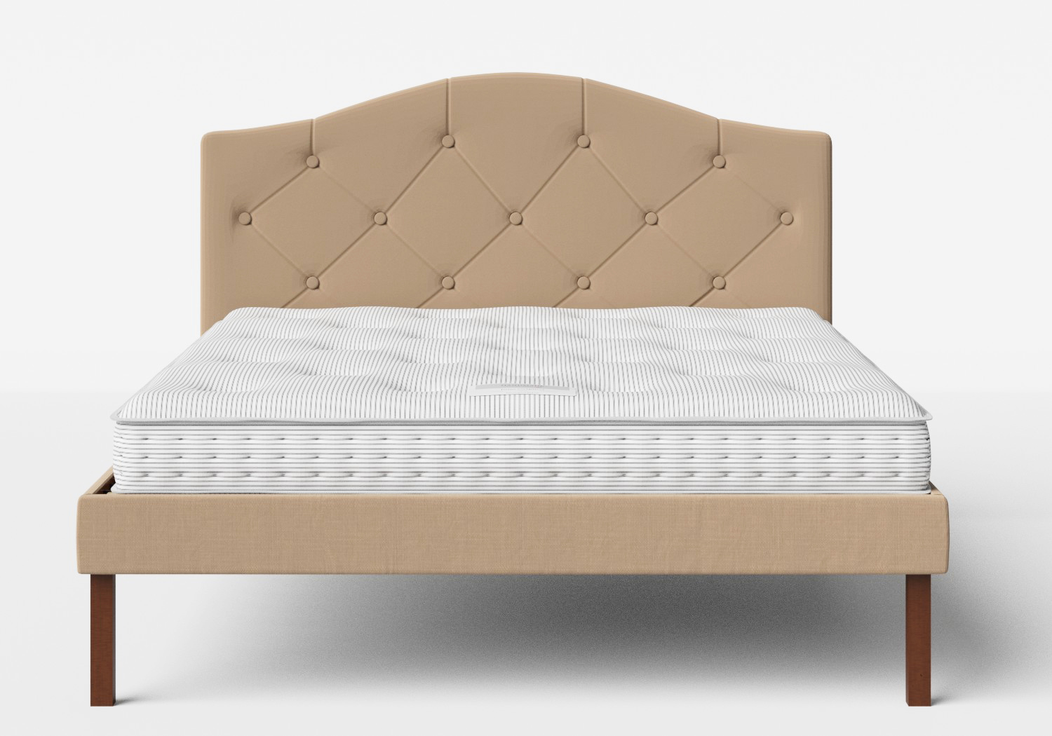 Yoshida Upholstered Bed with Straw fabric with buttoning shown with Juno 1 mattress