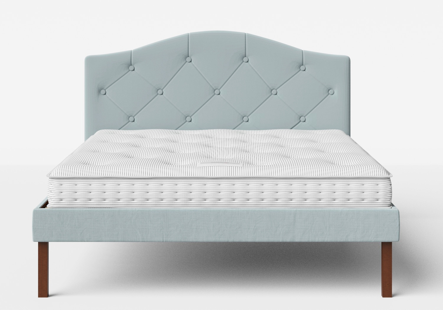 Yoshida Upholstered Bed with Wedgewood fabric with buttoning shown with Juno 1 mattress