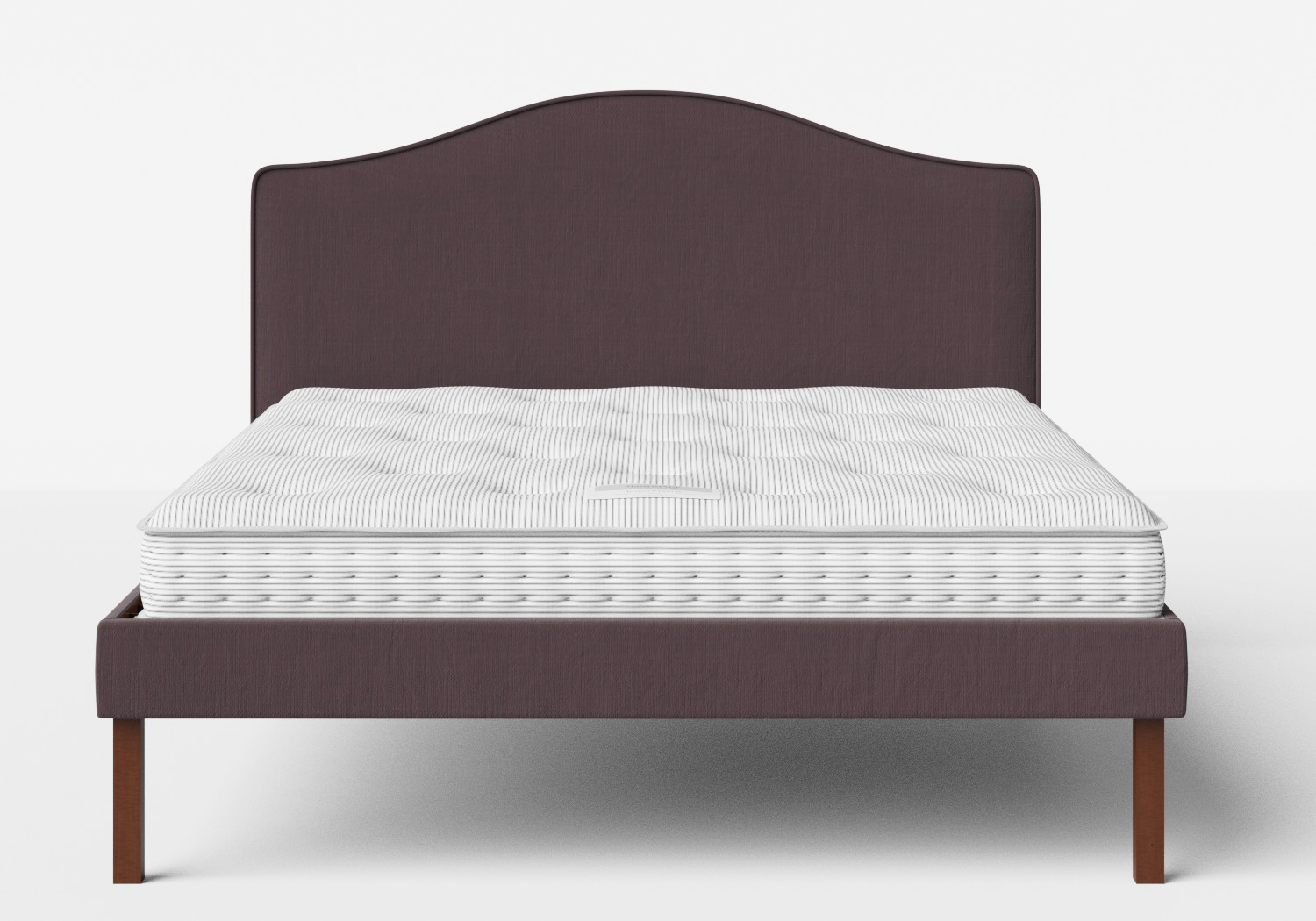 Yoshida Upholstered Bed with Aubergine fabric with piping shown with Juno 1 mattress