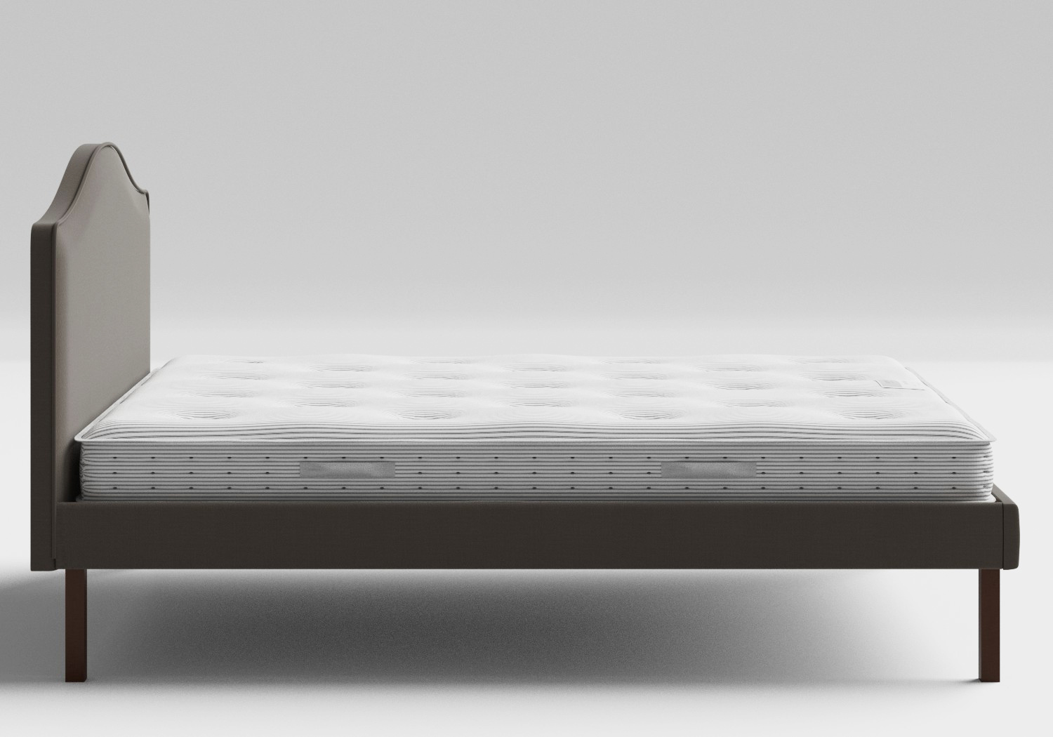 Yoshida Upholstered Bed with Grey fabric with piping shown with Juno 1 mattress