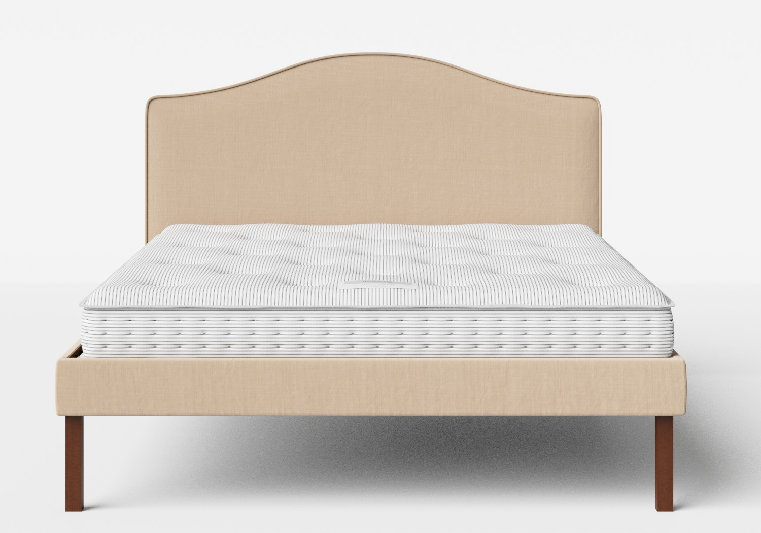 Yoshida Upholstered Bed with Natural fabric with piping shown with Juno 1 mattress