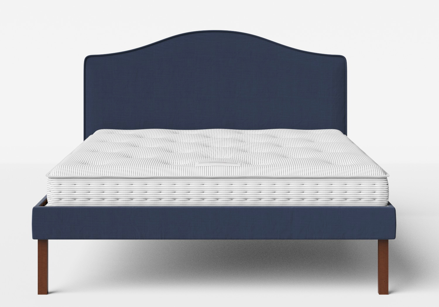 Yoshida Upholstered Bed with Navy fabric with piping shown with Juno 1 mattress
