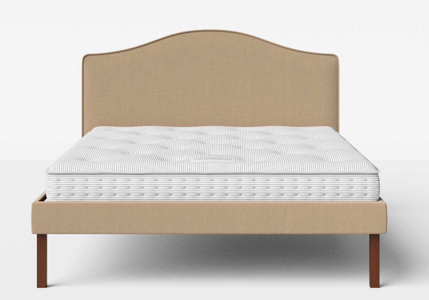 Yoshida Upholstered Bed with Straw fabric with piping shown with Juno 1 mattress