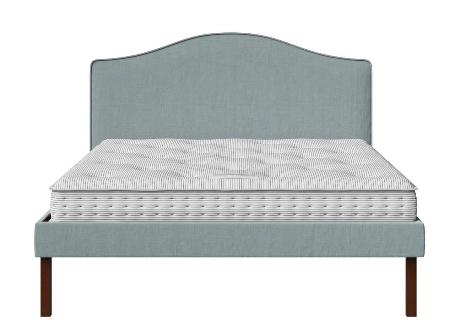 Yoshida Upholstered Bed with Wedgewood fabric with piping shown with Juno 1 mattress