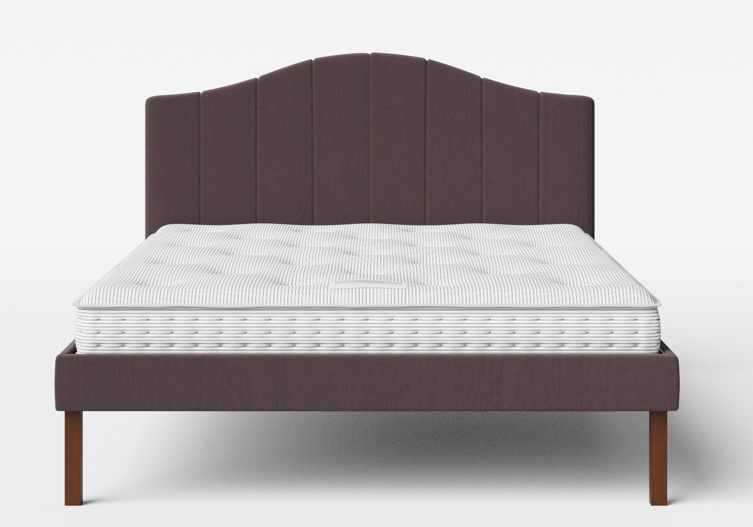 Yoshida Upholstered Bed with Aubergine fabric shown with Juno 1 mattress