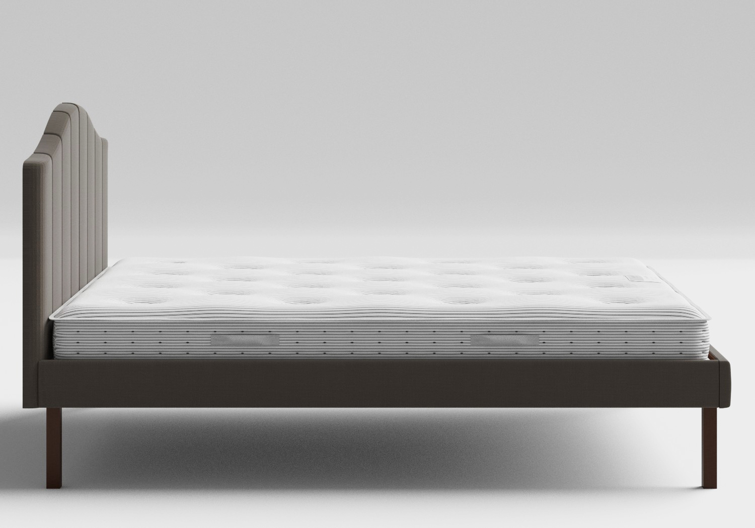 Yoshida Upholstered Bed with Grey fabric shown with Juno 1 mattress