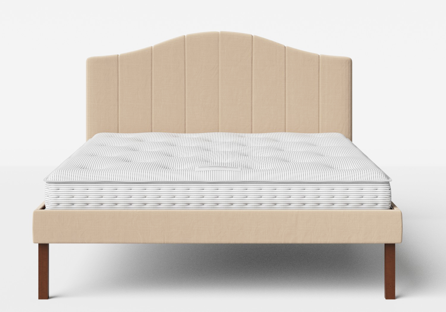 Yoshida Upholstered Bed with Natural fabric shown with Juno 1 mattress