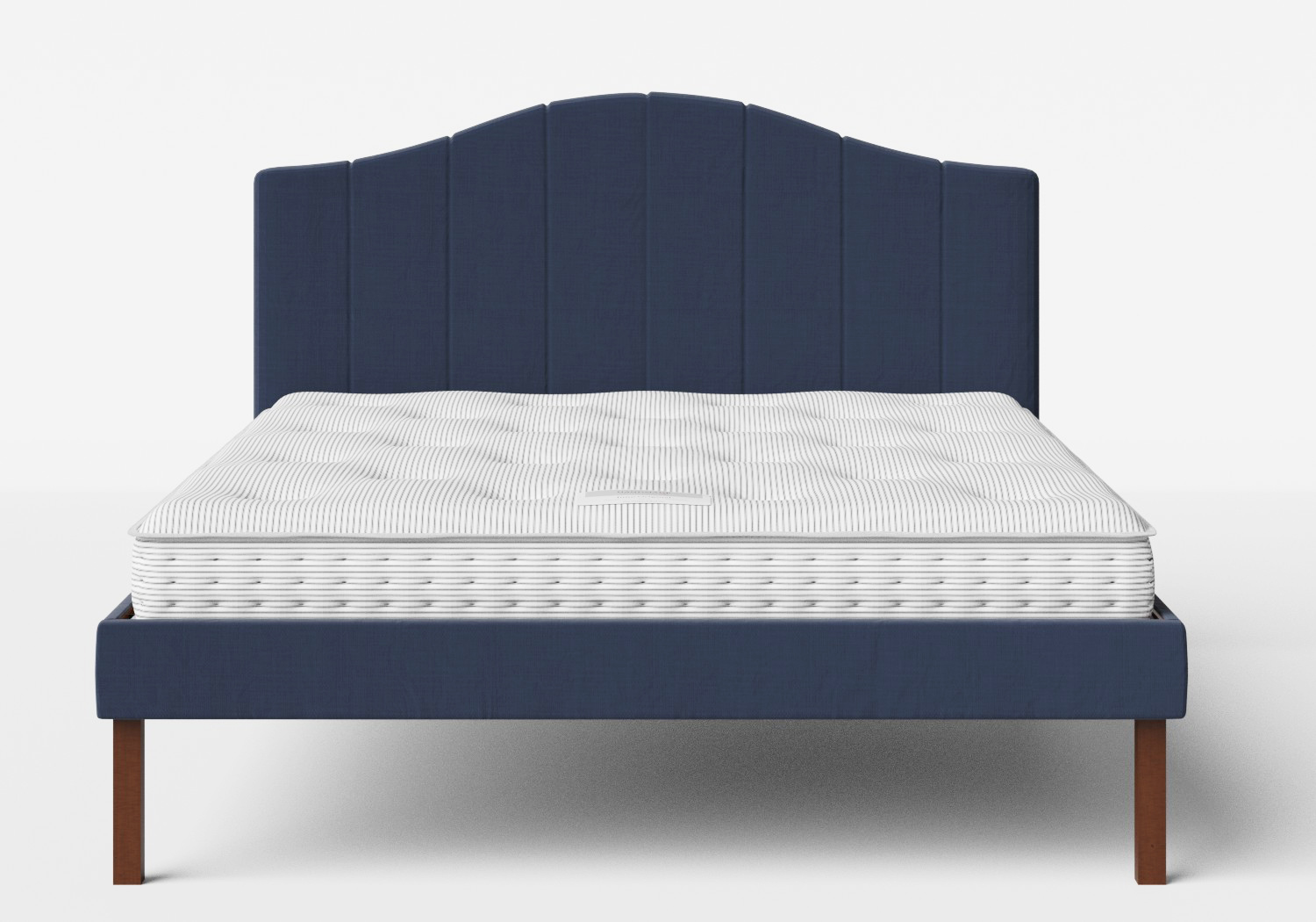 Yoshida Upholstered Bed with Navy fabric shown with Juno 1 mattress