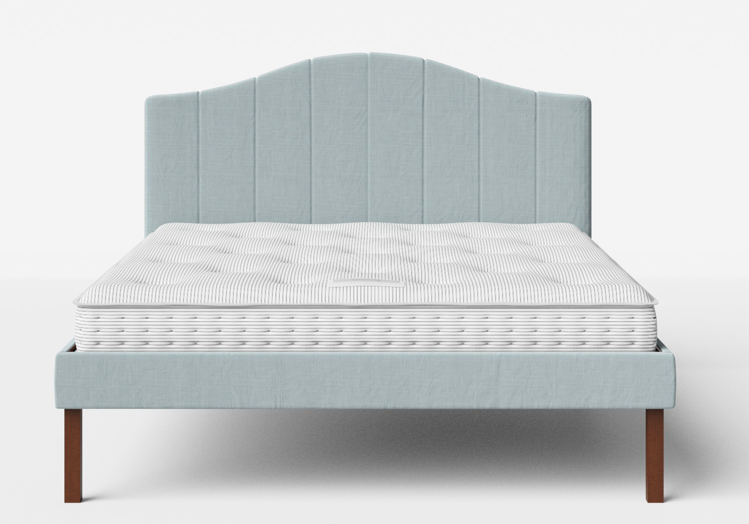 Yoshida Upholstered Bed with Wedgewood fabric shown with Juno 1 mattress