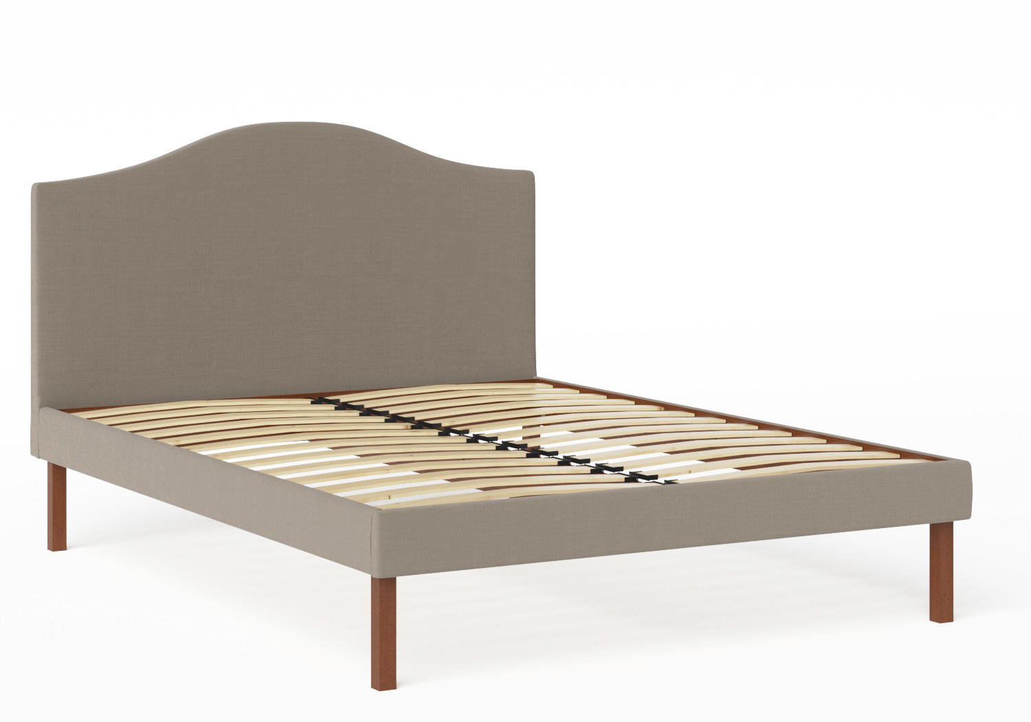 Yoshida Upholstered Bed with Grey fabric shown with slatted frame