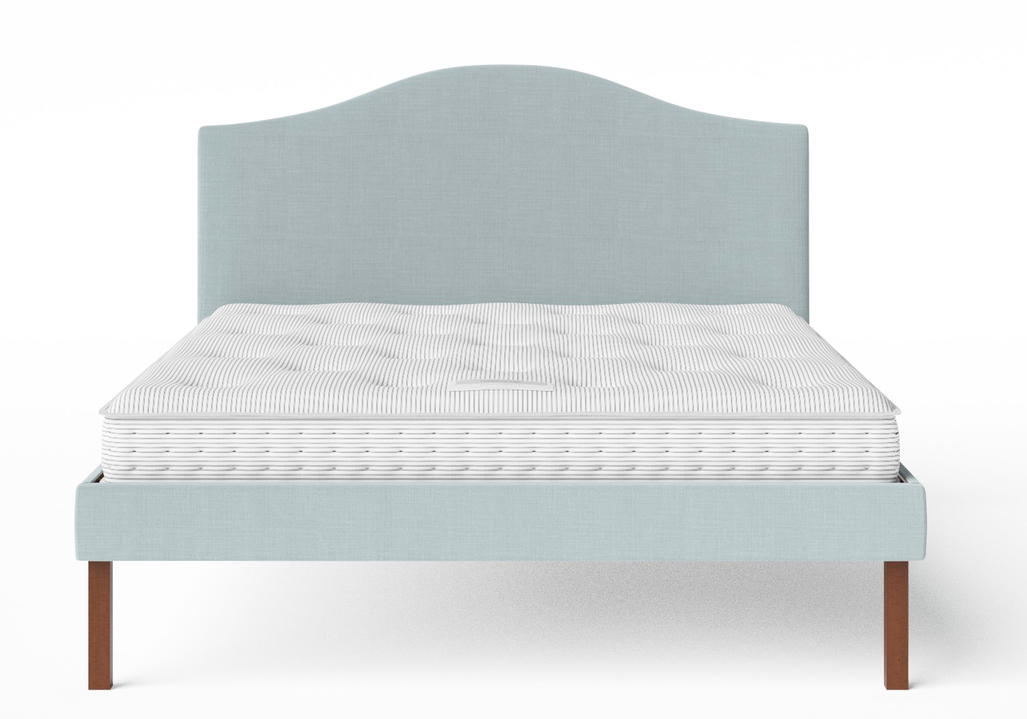 Yoshida Upholstered Bed in Wedgewood fabric shown with Juno 1 mattress