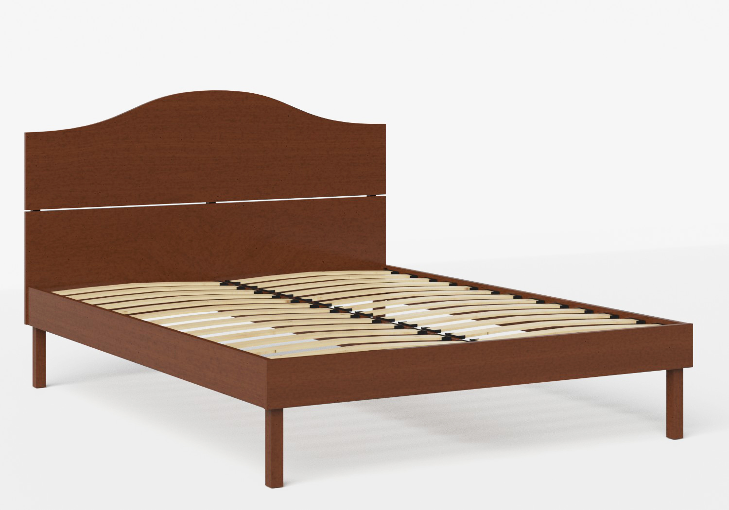 Yoshida Wood Bed in Dark Cherry shown with slatted frame