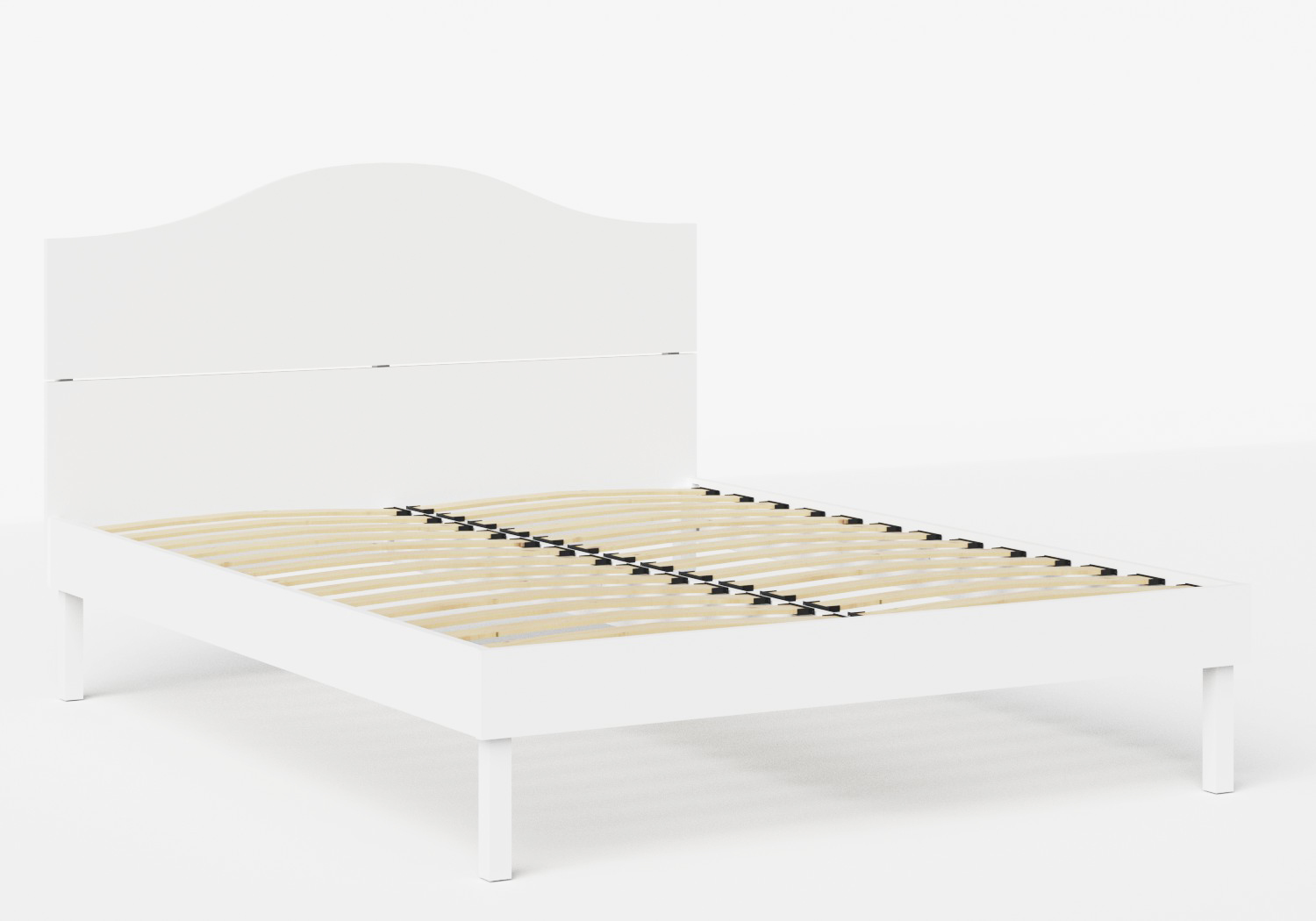 Yoshida Wood Bed in White shown with slatted frame