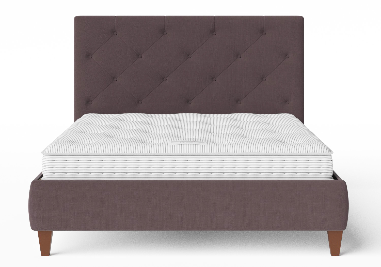 Yushan Upholstered Bed in Aubergine fabric with buttoning shown with Juno 1 mattress