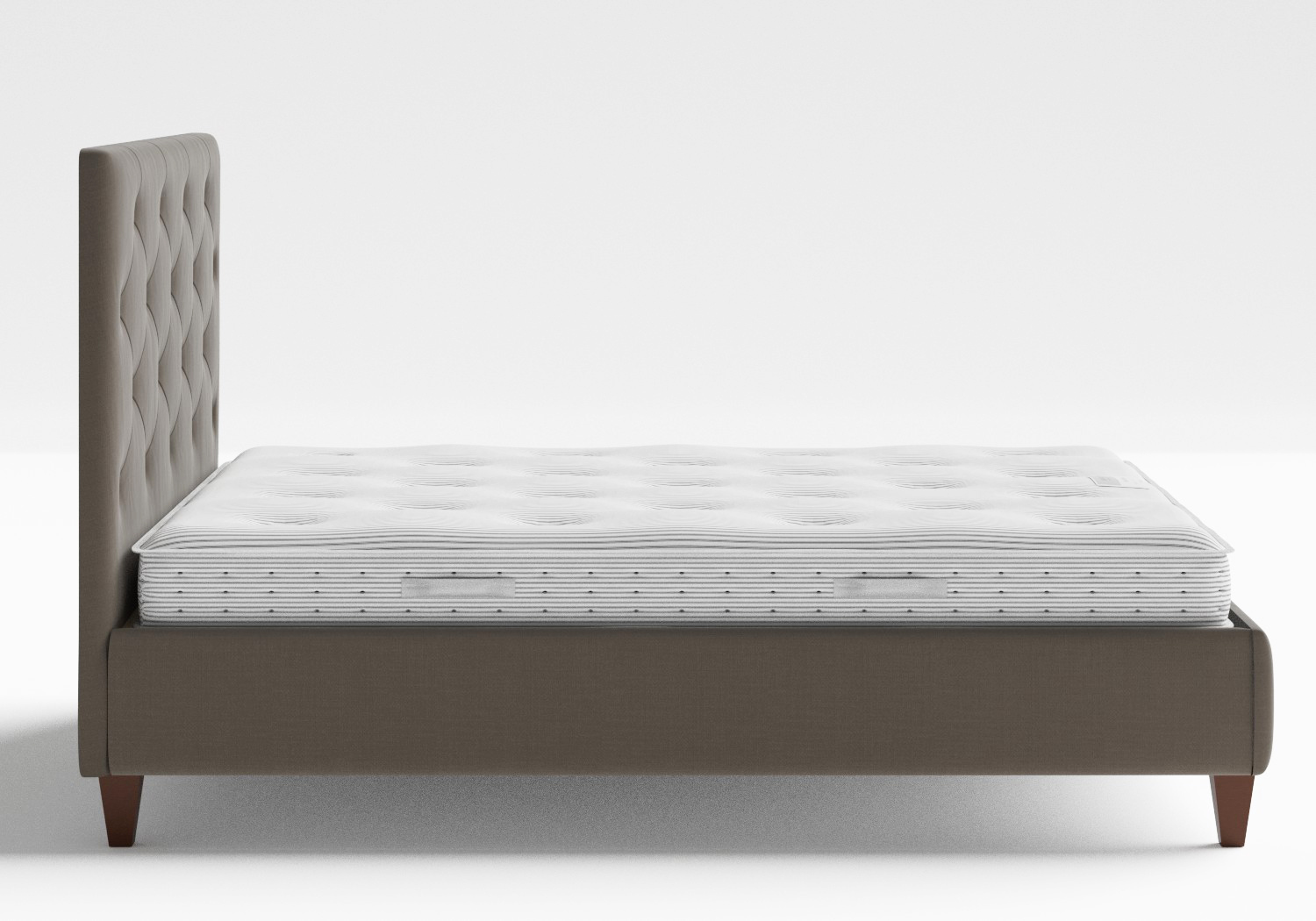 Yushan Upholstered Bed in Grey fabric with buttoning shown with slatted frame