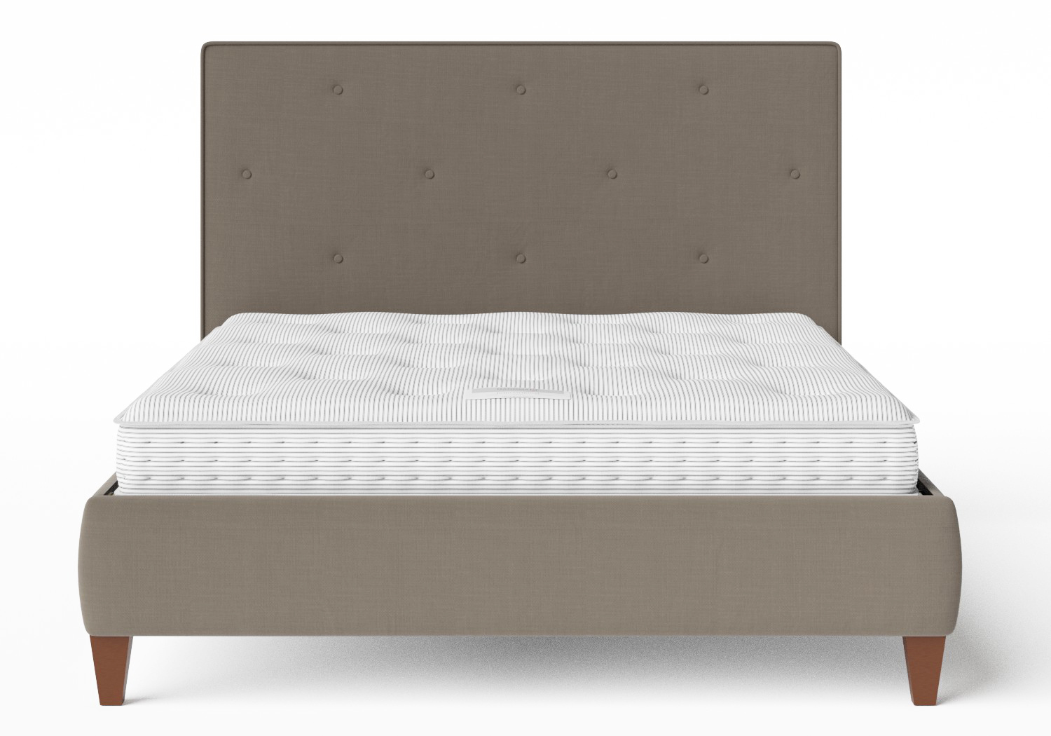 Yushan Upholstered Bed in Grey fabric with buttoning shown with Juno 1 mattress